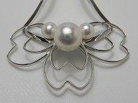 アコヤ真珠 ナチュラルピンク 3珠付き簪