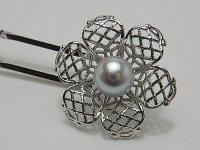 アコヤ本真珠 8.1 mm 天然ブルーピンク 簪