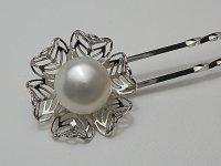 白蝶真珠 12.7×12.8 mm ナチュラルホワイト 簪