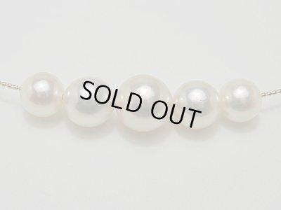 画像1: アコヤ本真珠 5 珠付け K18 形状記憶ネックレス