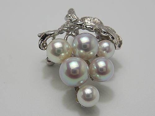 画像1: アコヤ真珠 天然桜色 6珠付き Silverブローチ