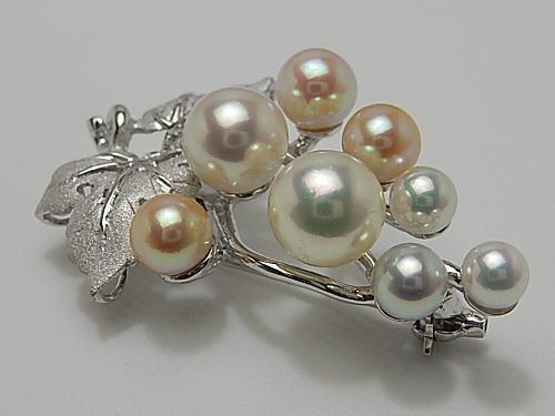 画像1: アコヤ総天然色真珠 8珠付き 4.2 mm〜7.6 mm Silverブローチ