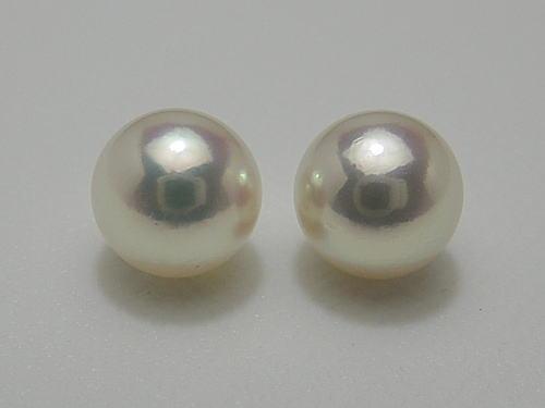 画像1: アコヤ真珠 7.8 mm ナチュラルピンクグリーン Pt ピアス