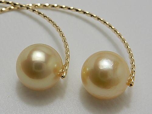 画像1: アコヤ真珠 ナチュラルゴールド K18 デザインピアス