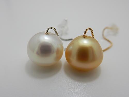 画像1: 白蝶ゴールド&ホワイトカラー K18&K14WG アメリカンピアス