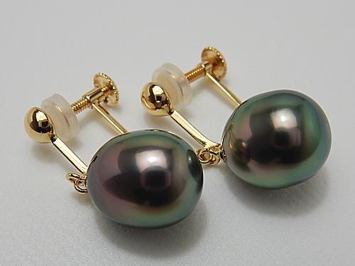 画像1: リキテア産 黒蝶真珠 ピーコックカラー K18イヤリング