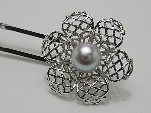 画像1: アコヤ本真珠 8.1 mm 天然ブルーピンク 簪