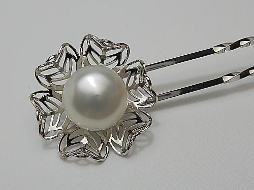 画像1: 白蝶真珠 12.7×12.8 mm ナチュラルホワイト 簪