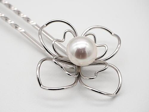 画像1: 白蝶真珠 11.9×11.5 mm ホワイトピンク 簪