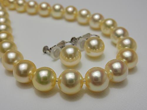 画像1: 稀少 アコヤ天然 金色真珠 8.0 〜 8.5 mm 厳選SET