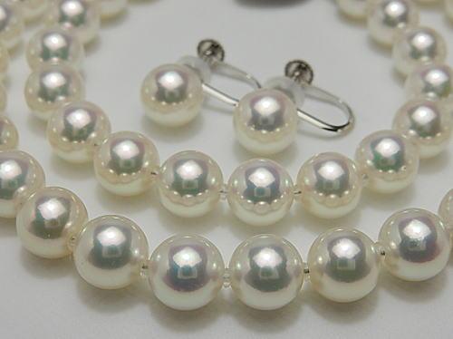 画像1: アコヤ無調色真珠 7.0 〜 7.5 mm SET「光輝 (てり) 最強」鑑別鑑定書付き