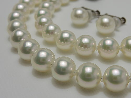 画像1: あこや無調色真珠 7.5〜8.0 mm 「花珠」 合格 SET