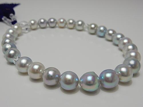 画像1: アコヤ真珠ナチュラルブルー9.5〜10.0mmカスタマイズ念珠