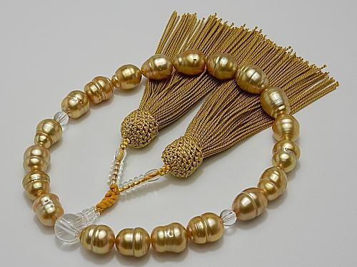 画像1: 天然黄金色 白蝶真珠 10.0〜11.9 mm 念珠