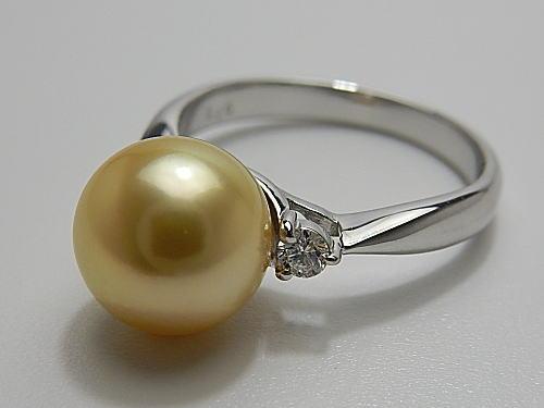画像1: アコヤ最高峰 金色真珠 9.05 mm PT RING