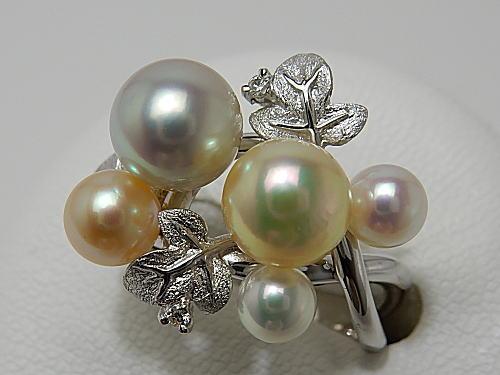 画像1: アコヤ真珠彩りナチュラル K18WG Dia0.03ct RING