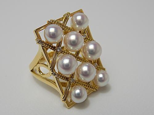 画像1: ROYAL WA-DAMA  アコヤ本真珠 5.1〜5.8 mm K18 RING Dia 0.04ct