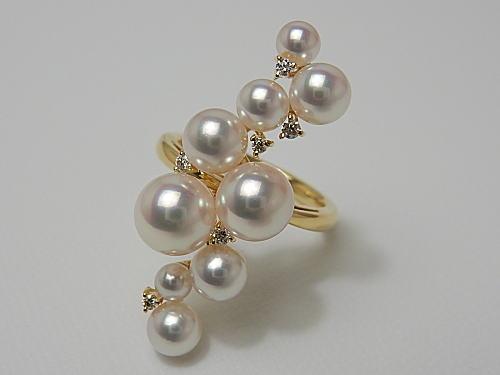 画像1: ROYAL WA-DAMA  アコヤ本真珠3.5〜7.4mm Dia0.09ct K18 RING