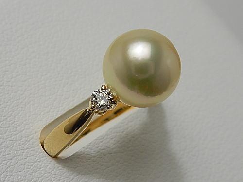 画像1: アコヤ天然金色真珠 9.5mm K18 Dia 0.16ct RING