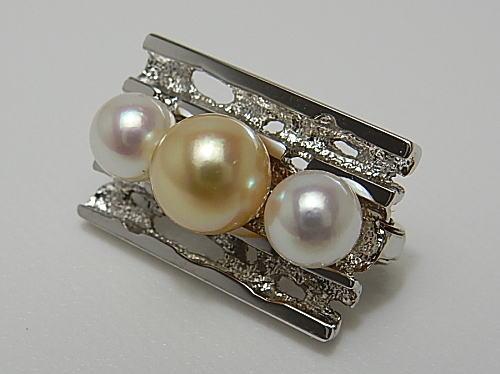 画像1: アコヤナチュラルカラー 3 珠付けショートナー