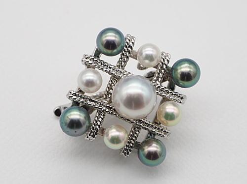 画像1: アコヤ真珠 9珠付き SILVER ショートナー