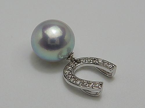 画像1: アコヤ真珠 9.0 mm 天然ブルーピンク「最高品質」 チェーン付き K18WG Dia TOP